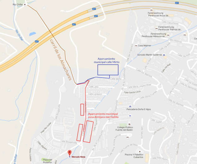 Nerja Turismo - Ruta del Rio Chillar - Mapa Aparcamiento
